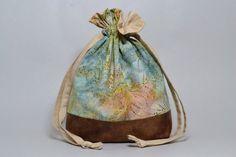 Enchanted Marsh Faux Leather Medium Drawstring Knitting Bag