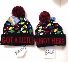 62c59d2c10e GOT A LITTLE KNOT HERE POM BEANIE Christmas Light Vacation Movie Winter Knit  Hat  WarnerBrosInteractiveEntertainment