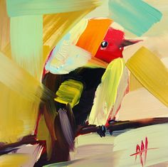 Western Tanager no. 10 original bird oil painting by Angela Moulton prattcreekart