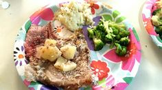 Hawaiian Paleo Pork Chops  Place bone in chops in bottom of roasting pan and cover with chopped pineapple and unsweetened coconut flakes. Pour juice from coconut over chops. Can drizzle with raw honey.