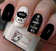 Bts Nail Design Two Color Nail Designs Korean Nail Art, Korean Nails, K Pop Nails, Love Nails, Two Color Nails, Nail Colors, Stylish Nails, Trendy Nails, Army Nails