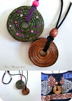Recycled paper pendant. Make these with The Pendant Roller