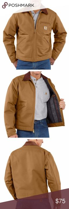 Carharrt Brown Duck Detroit Blanket Lined Jacket One of their most popular styles, this classic Carhartt duck jacket is the perfect fit for the working man. This jacket features a corduroy-trimmed collar with snaps for optional hood, blanket lining in body, and quilted-nylon lining in sleeves. This is a brand new coat, but the tags have fallen off. The size sticker tag is intact on the sleeve, so you can see this has never been worn. #52WSDW Carhartt Jackets & Coats
