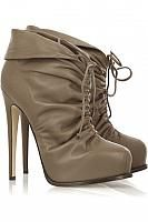 Grey Leather Lace Up Stiletto Platform Ankle Boots