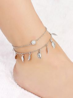 Shop Leaf Detail Layered Chain Anklet at ROMWE, discover more fashion styles online. Cute Gifts For Her, Layered Chains, Body Jewelry, Jewellery, Anklet, Romwe, Women's Accessories, Layers, Women Jewelry