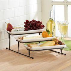 "Ksp Strata Ceramic Buffet Plate Rectangle ""3-Tier"" 44.5 X 29 X 15.25 Cm White   Kitchen Stuff Plus"