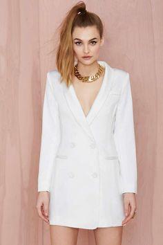 Line & Dot Angelina Tuxedo Dress - White | Shop What's New at Nasty Gal
