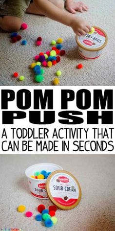 Pom Pom Push: a toddler activity that can be made in seconds