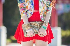 red dress, flower jacket & glitter purse