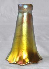 Lundberg Studios Gold Aurene Tiffany Art Glass Lily Trumpet Lamp Light Shades U