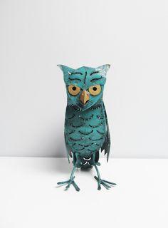 Vintage Owl candle holder, turquoise metal sheet, owl sculpture, owl decor, metal art, metal sculpture, sheet metal art sculpture H 8.9 in by EbyVintage on Etsy