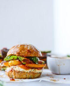 Grilled veggie sliders on homemade pretzel buns
