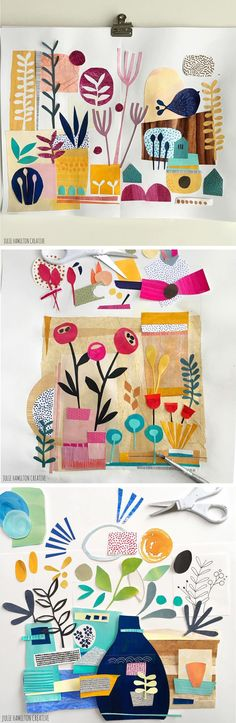 Julie Hamilton paints with scissors in her sketchbook