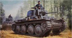 1941 Panzer 38 (t) Ausf.E - box art Tamiya Panzer Iv, Military Art, Military History, Afrika Korps, War Thunder, Armored Fighting Vehicle, German Army, Armored Vehicles, Tamiya