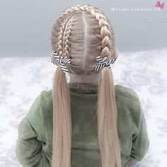 Super cute pigtail style today 😍 its all about lace braids and dutch braids!😍our favourite braids 💗💗 we loved how … Two Braid Hairstyles, Girls Natural Hairstyles, Little Girl Hairstyles, Trendy Hairstyles, Hairstyle Ideas, Hair Ideas, Braided Hairstyles For Kids, Kids Mode, Childrens Hairstyles