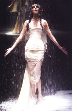 Model at Alexander McQueen Spring/Summer 1998. 'Untitled' or as it was supposed to be known as 'The Golden Shower'