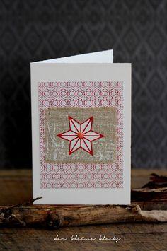 der kleine klecks Christmas card - Weihnachtskarte - genähte Karte - nordischer Stern auf Leinenstoff - Stanzformenset Nordische Sterne von Charlie & Paulchen