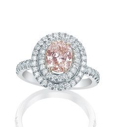 Pink and white diamonds in platinum - A charming, feminine ring from Boodles' iconic Vintage collection, featuring a oval cut pink diamond and a further of round-brilliant cut diamonds in platinum and rose gold. Pink Diamond Ring, Pink Sapphire, Victorian Jewelry, Vintage Jewelry, Colored Diamonds, Pink Diamonds, Boodles, Pink Jewelry, Gold Jewellery