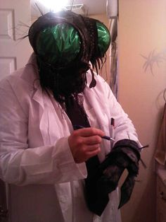 "homemade ""The Fly"" costume"