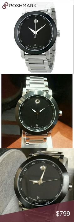 NWT Movado $1100 Black Dial Stainless watch Movado Museum 604 Black Dial Stainless Steel Band Mens Watch  Firm price firm price firm price firm    $799.00 . AUTHENTIC WATCH  . AUTHENTIC BOX  . AUTHENTIC MANUAL    SHIPPING  PLEASE ALLOW FEW BUSINESS DAYS FOR ME TO SHIPPED IT OFF.I HAVE TO GET IT FROM MY WAREHOUSE.   THANK YOU FOR YOUR UNDERSTANDING. Movado  Accessories Watches