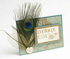 peacock feather placecard