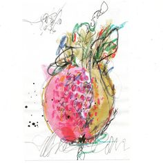100daysofabstractsketch: Day 64 / Plant a pomegrate in your garden