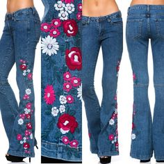 #bohemian jeans #floral jeans #denim floral #bell bottoms #hippiestyle #arriving today @carriesclosetshop @kbenison