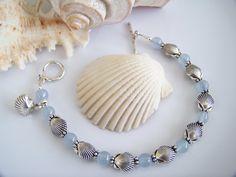 Blue Jade Gemstone and Silver Seashell by Joannsfortheluvofit, $24.00