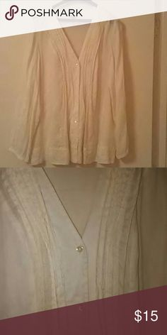 "J. Jill tuxedo style shirt size L Semi sheer. V neckline. Color: Cream. Fabric: 55% linen, 45% silk. Measurements: approx. 27"" length, 40"" bust. In very good condition. Comes from a non smoking, pet free home. J. Jill Tops Blouses"