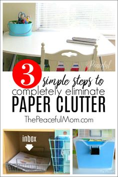 Get rid of paper clutter in your home with three simple steps that you can start taking today! Plus learn my Quick Sort Method for eliminating the past piles of papers in your home.