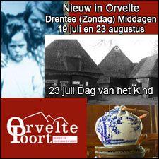 Promobloc voor de Orvelte Poort aangepast. Nieuw in Orvelte: Drentse (zondag) middagen: Dichter op stee 19 juli & 23 augustus.  23 juli: Dag van het Kind in Orvelte. http://koopplein.nl/middendrenthe/gebruikers/149743/stichting-orvelte-poort