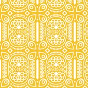 via spoonflower tribal peacock in sunny yellow by Katphillipsdesigns