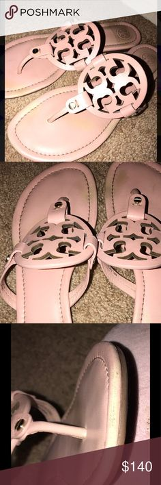 TORY BURCH CLAY PINK MILLER SANDALS I'm selling a pair of 100% authentic size 9, clay pink matte Tory Burch sandals. I believe this pair is limited edition. This is such a gorgeous color and I'm obsessed with this pair but they just sit in my closet bc I love wearing slides. I've legit only worn these maybe 4 or 5 times and I know you might think they look kinda dirty but I tried being honest with the discoloration. They are super matte so get dirty way easier than the miller leather…