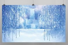 Frozen Winter Birthday Party Backdrop Photo Booth Poster Banner 2.4ft x 4ft