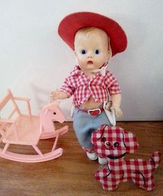 Vintage Vogue Jimmy Painted Eyes Ginny Ginette Boy Cowboy Doll  1950s 1960s