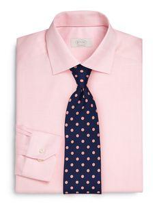 Polka Dot Tie + Pink Shirt