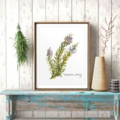 Herbs Kitchen Decor, Rosemary, Watercolor Print, Natural Kitchen Art, Kitchen Printable, Herbs, Kitchen Decor, Spice Print, Rosemary Poster