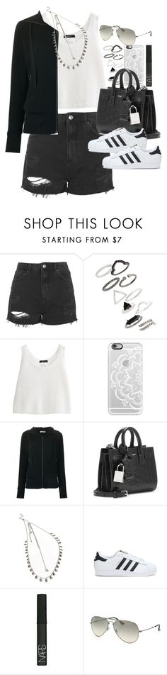 """""""Outfit for spring"""" by ferned ❤ liked on Polyvore featuring Topshop, Casetify, Tomas Maier, Yves Saint Laurent, Forever 21, adidas, NARS Cosmetics, Ray-Ban, women's clothing and women's fashion"""