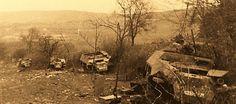 Aux environs du village de LA GLEIZE - STOUMONT: les allemands n'iront pas plus loin dans la Bataille des Ardennes . Ils sabotent tous les 135 véhicules qu'ils laisseront sur place .