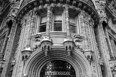 Alwyn Court is a French renaissance architecture style building landmark in midtown Manhattan. This black and white façade highlights the section above the Petrossian entrance.  (Posted on Ahmad Hashim Photography)