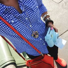 What Nicole Wore: Gingham {airport travel outfit}