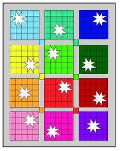 white star on color blocks quilt