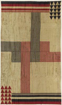 textile US : tapis Marion Dorn, 1930s, rouge-noir-blanc, motifs géométriques