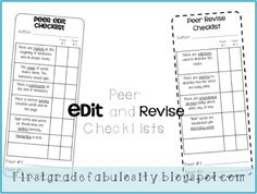 Freebie! Peer Edit and Revise Student Checklists