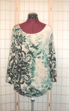 Sexy Alfani New WT Sz XL Green & Gray Ikat Print Liquid Knit Ruched Tunic Top  #Alfani #LiquidKnitTop
