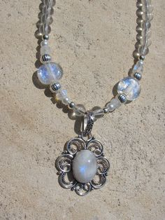 Moonstone Necklace with Silver and Glass Pearls by TheScoffPatch. $28.00, via Etsy.