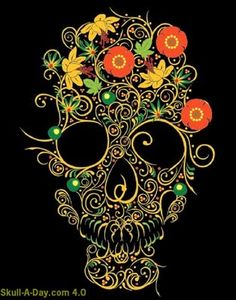 "☠ Khokhloma Skulls ~ Ruslan Karablin of SSUR Inc. told us: ""Inspired by Russian folk art known as khokhloma-Usually done as decorative painting on wooden objects such as spoons, plates and other home items ~ Posted by Citizen Agent ☠"