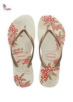 Havaianas Tongs Femme Slim Organic White/Rose Gold/Rose Gold-EU :43/44-BR:41/42 - Chaussures havaianas (*Partner-Link)
