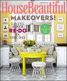 House Beautiful Magazine Sunny And Bright Floor Stencilliving Room Makeoversbuy