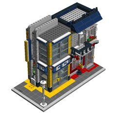 Bank & Cafe from Bike Shop - 2 Digital Designer, Lego Trains, Lego Military, Lego Modular, Lego Construction, Cool Lego Creations, Lego Architecture, Rock Bottom, Lego Stuff